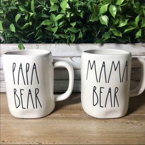 Rae Dunn PAPA BEAR MAMA BEAR Mug Set Large Letter